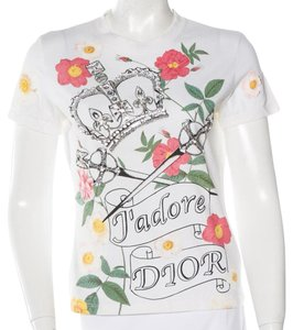 Dior Crystal Logo Floral T Shirt White, Green, Red