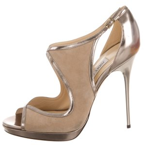 Jimmy Choo Suede Hardware Beige, Silver Pumps