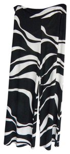 Other Plus-size Retro Wide Comfortable Stretchy Super Flare Pants black and white