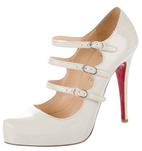 Christian Louboutin Patent Leather Lillian Platform Pointed Toe Ankle Strap White, Ivory Pumps