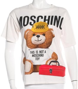 Moschino Teddy Bear Logo Print Cotton T Shirt White, Black, Red