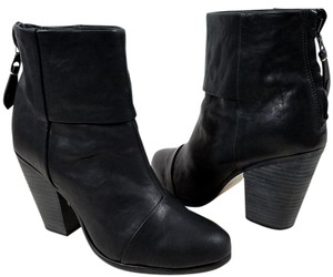Rag & Bone Ankle Stacked Heel Paneled Suede Black Boots