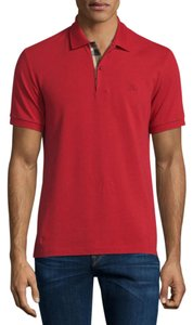 Burberry Mens Large Short-Sleeve Oxford Polo Shirt, Military Red