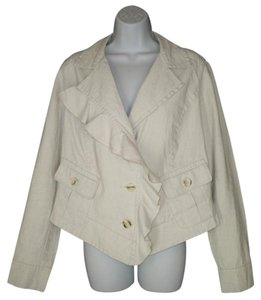 CAbi Moto Ruffled Waxed Linen Jacket