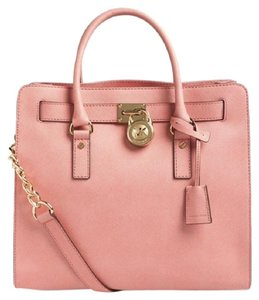Michael Kors Hamilton North South Pink Saffiano Leather Tote in Pale Pink