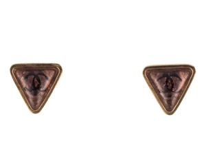 Chanel Gold-tone Chanel triangle interlocking CC stud earrings