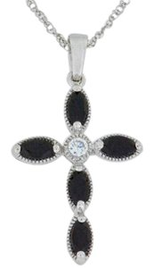 Other 1 Ct Genuine Black Onyx Cross Pendant .925 Sterling Silver