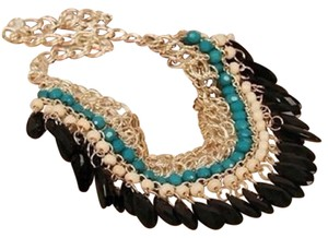 Anthropologie Beaded Fringe Statement Necklace