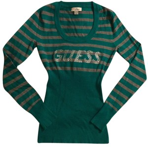Guess Striped Rayon Scoop Neck Sweater
