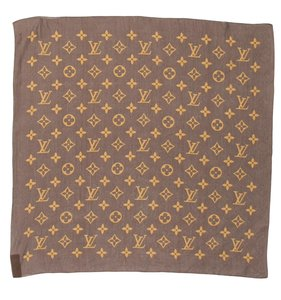 Louis Vuitton Brown, beige Louis Vuitton silk LV monogram scarf