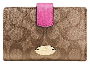 Coach COACH F53562 MEDIUM CORNER ZIP WALLET IN SIGNATURE KHAKI DAHLIA