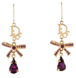 Dior Gold-tone Christian Dior crystal bow drop earrings