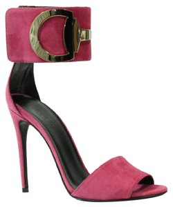 Gucci 388366 Womens Rooney Suede Ankle Strap Petunia Pink Pumps