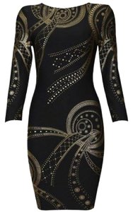 Herve Ledger inspired short dress black and gold Bodycon Sexy on Tradesy