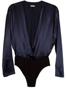 Reformation Silk Bodysuit Top Navy