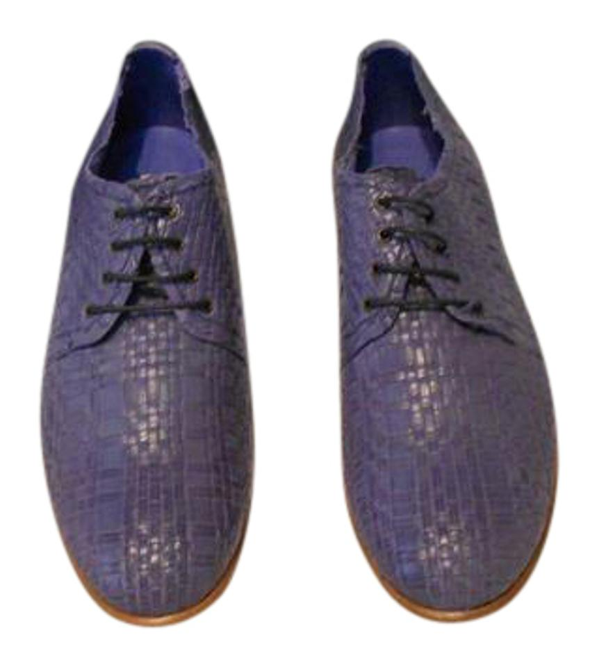 Fratelli Rossetti Blue Lace Up Woven Leather Oxfords Flats Size EU ... 5ac9499edf3b7