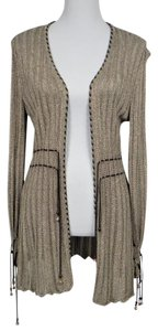 St. John Rayon Knit Beaded Suede Cardigan