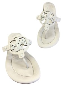Tory Burch Miller Logo White Sandals