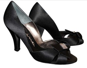 Nina Shoes Rhinestone Decoration Satin Black Formal