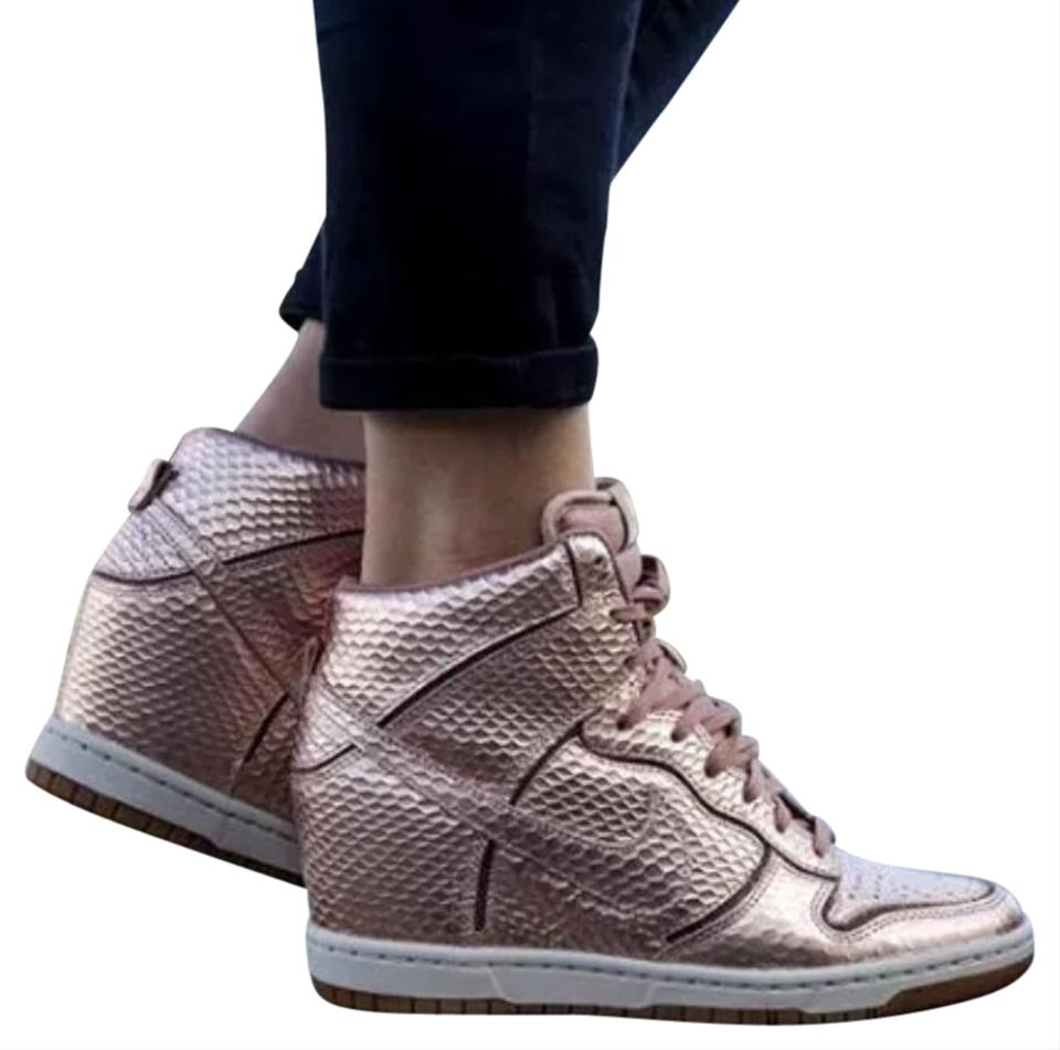 ffa34b140db Nike Rose Gold Dunk Sky Hi Wedge Tennis Sneakers Size US 7 Regular ...