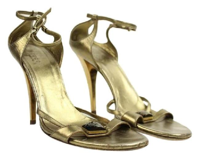 Item - Gold Metallic Ankle Strap Heeled Sandals with Lbslm85 Bronze Pumps Size US 8.5 Narrow (Aa, N)