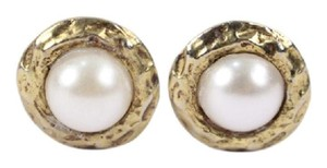 Chanel Round Gold Tone Faux Pearl Clip On Earrings CCAV351