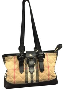 Burberry Canvas Leather Code Inside Shoulder Bag
