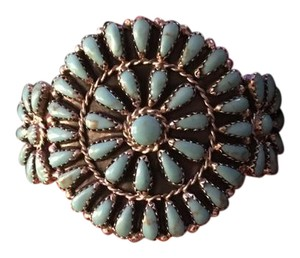 Other Turquoise Flowered Sterling Silver Cuff Bracelet