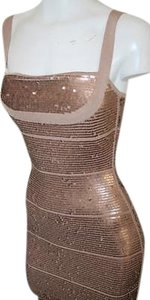 Hervé Leger Herve Dune Brown Sequin Dress