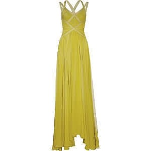 Hervé Leger Lemon Lime Bandage Chiffon Gown Dress