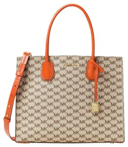 Michael Kors Studio Mercer Large Convertible Natural / Cherry Tote in Natural/Orange