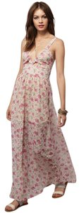 Pink, Nude, Floral Maxi Dress by Tobi Sun Textured Sheer