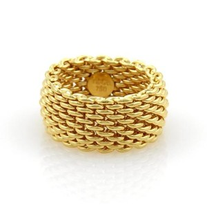 Tiffany & Co. Tiffany Co. Somerset 18k Yellow Gold 10mm Wide Mesh Band Ring