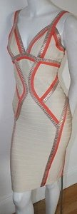 Hervé Leger Herve Coral Gold Cream Dress