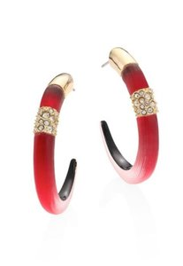 Alexis Bittar Alexis Bittar Lucite Pave Station Hoop Earring/1.5