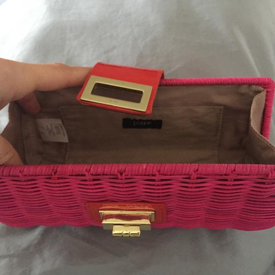 J.Crew Dark Peony with Red and gold latch Clutch