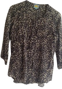 C&C California Cotton/silk Shirt Hem Top Animal print