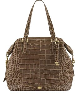 Brahmin Large Taupe Versatile Leather Tote in Taupe Savannah