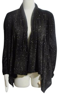 Ellen Tracy Sweater Open Front Asymmetrical Sparkly Cardigan