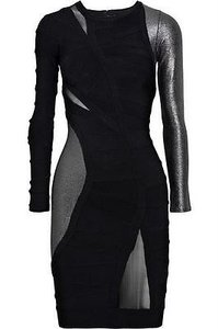 Hervé Leger Gun Metal Bandage Cocktail Runway Dress