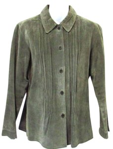 Margaret Godfrey Suede Button Down Shirt Faded Green