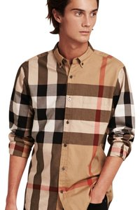 Burberry Button Down Shirt Tan
