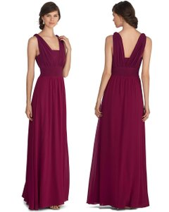 White House | Black Market Merlot Genius Chiffon Convertible Merlot Gown Dress