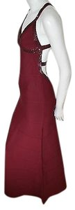 Hervé Leger Maroon Vintage Bandage Stretch Gown Dress