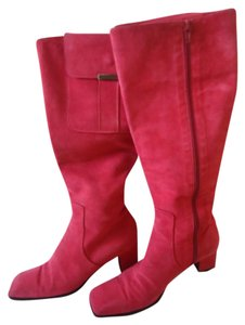 Saint Laurent Suede Knee High Heels pink Boots