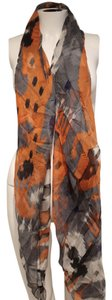 Gucci Gucci Black, Grey, Orange Silk Printed GG Sheer Scarf