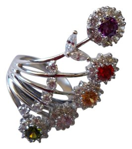 Silver Co. Charming Multi Gemstone, Topaz, Crystals Ring