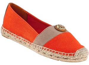 Tory Burch Espadrilles Sandals Reva Beacher Espadrille Poppy Red / Khaki Tan Flats