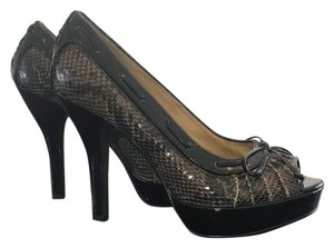 Michael Kors Faux grey and black snakeskin with black patent leather trim Platforms