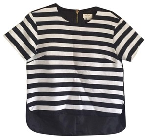 Kate Spade Crop Stripes Top Black White